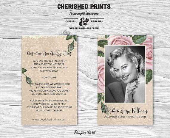 Vintage Purple Roses Prayer Card Memorial Card Funeral Card