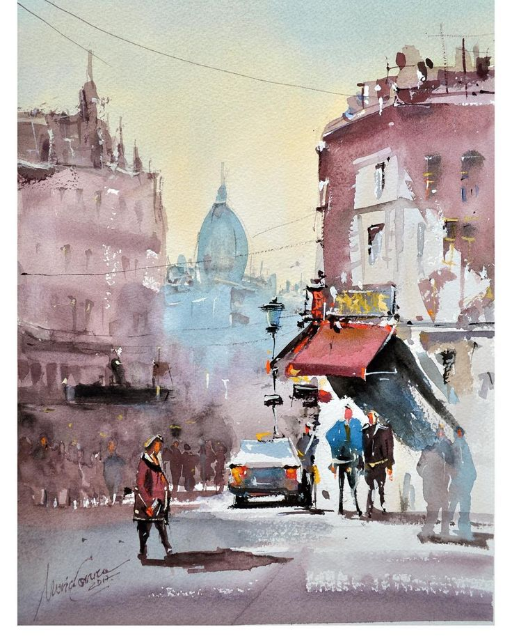 Watercolor painting by Maria Cornea Cityscape Bucharest 40x30cm