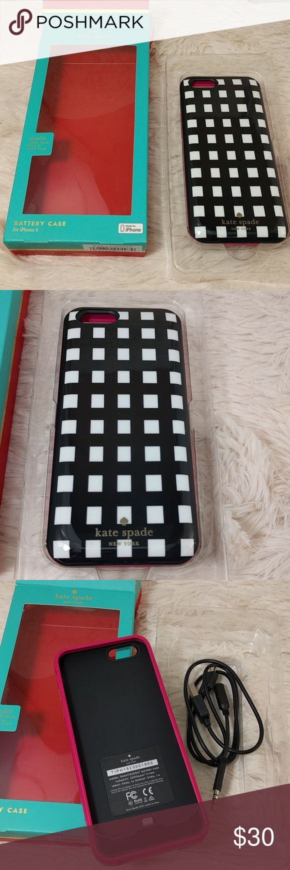 Open Box Kate Spade Charging Case iPhone 6 6s Tested working and includes all accessories and original box.  Store return due to finish defect shown in photo 4.  The edges in three places have that issue. kate spade Accessories Phone Cases