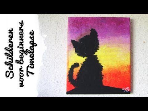 Kat Voor Zonsopgang Schilderij   Craftmama   Schilderen voor Beginners ☆ - YouTube
