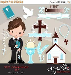 Mi primera comunión imágenes prediseñadas para los muchachos. Lindos personajes de comunión, gráficos, Biblia, iglesia, Rosario, estandarte de comunión. Primera comunión de gráficos.
