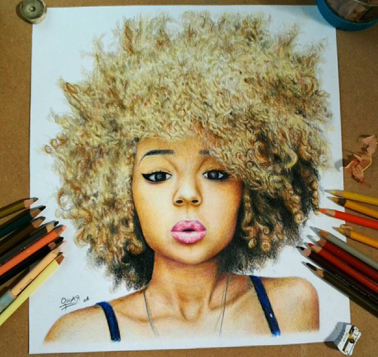 WIM Enjoyed and Liked on instagram from oscargzhzz: Chica con afro echo solo con colores prismacolor. #drawings #dibujos #sketch #painting #drawing #dibujo #gallery #arts_secret #draw #artwork #illustration #fabercastell #polychromos #art #pencildrawing #tacart #artist_features #polychromos #prismacolor #artistic #wildlifeart #colourpencil #dibujo by oscargzhzz