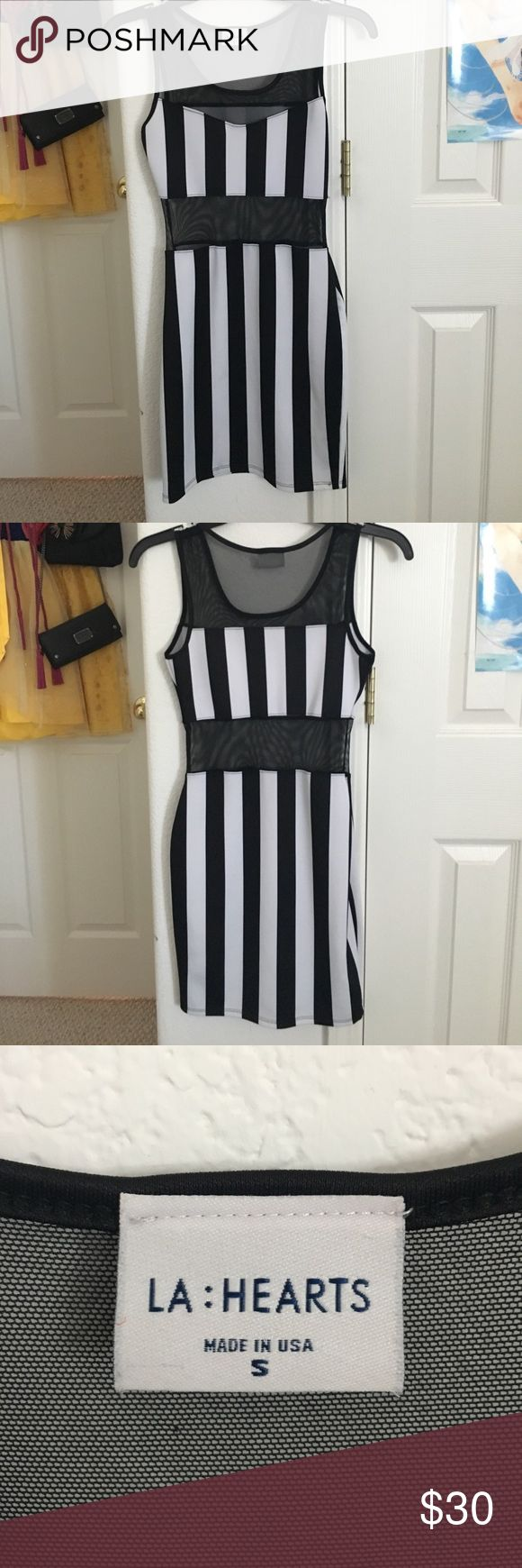 Mesh stripe bodycon dress Wore 2x!! Great for parties and nightclubs! Very tight and gotten to show off curves! Forever 21 Dresses Mini