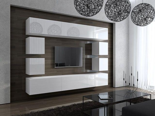 Meblościanka BOD 249x283x35 cm  http://sklepmeble.com.pl/index.php/nowosci/mebloscianka-jump-3-bialy-mat-czarny-mat.html  #furniture #WallEntertainmet #white #glossy #room #salon #tv #livingroom