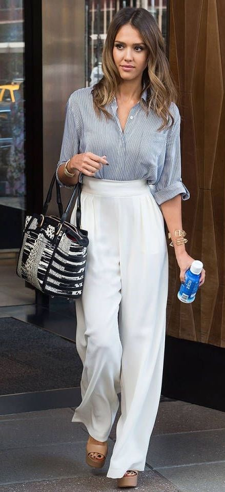 Taking notes from Jessica Alba and her high-waisted wide leg white pants.