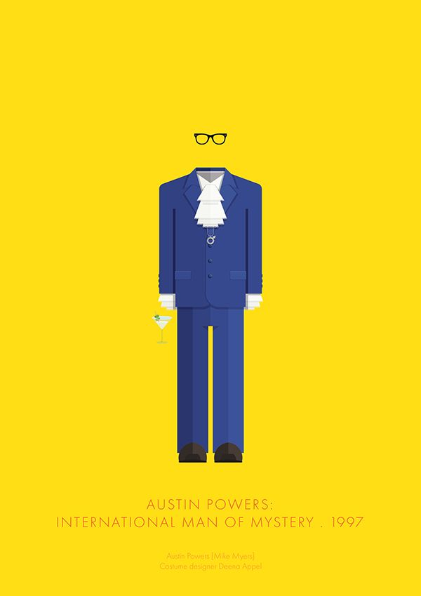 Austin Powers: International Man of Mystery (1997) ~ Minimal Movie Poster by Frederico Birchal ~ Costume Series #amusementphile