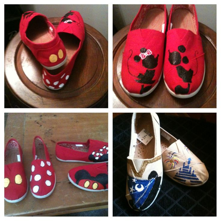 I Hand painted Disney canvas shoes for my sisters when they went to Disneyland!