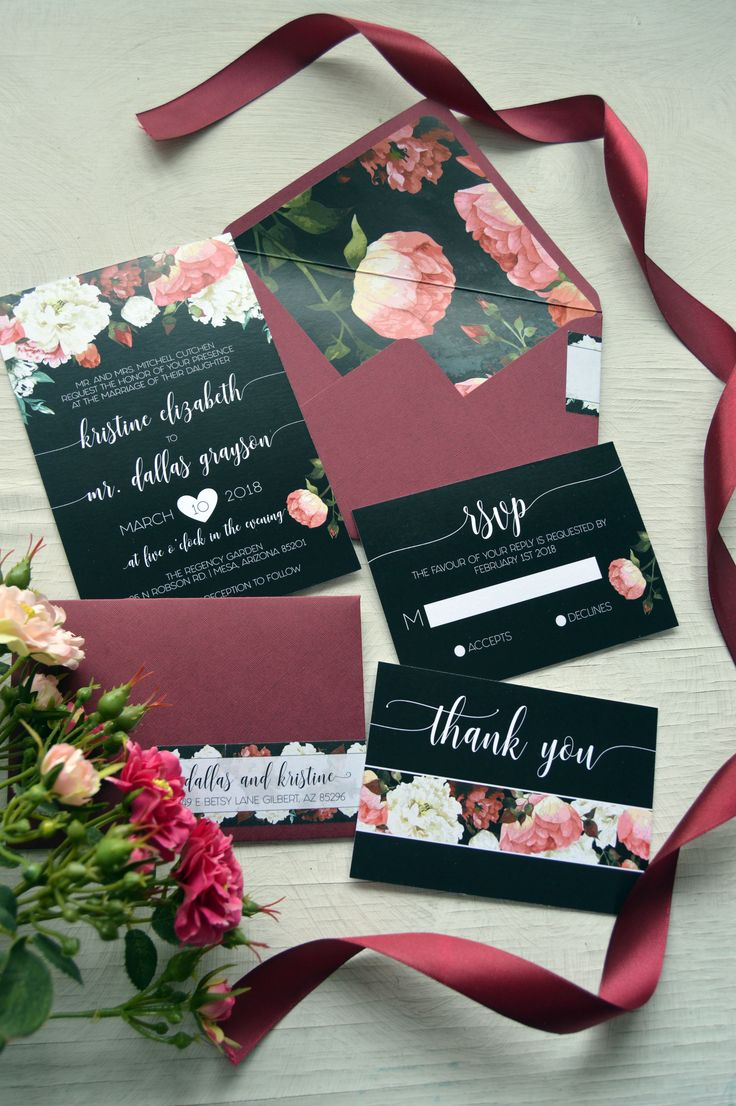 tie ribbon wedding invitation%0A Boho Marsala Wedding Invitation  Aquarela Stationery  Bohemian  Watercolor  Marsala Marsala Black Invitations