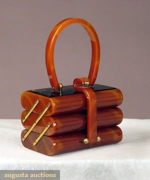 """Caramel Bakelite Purse, 1930-1940, Augusta Auctions -- Small box shape opens to 3 tiered sections, mirror under top, brass findings, 5.5"""" x 3.5"""" x 4"""" (View 1 of 2)"""