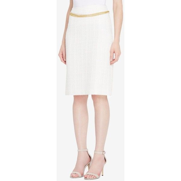 Tahari Asl Chain-Belt Boucle Skirt, Regular & Petite ($63) ❤ liked on Polyvore featuring skirts, petite skirts, white skirt, tahari by arthur s. levine, chain skirt and petite white skirt
