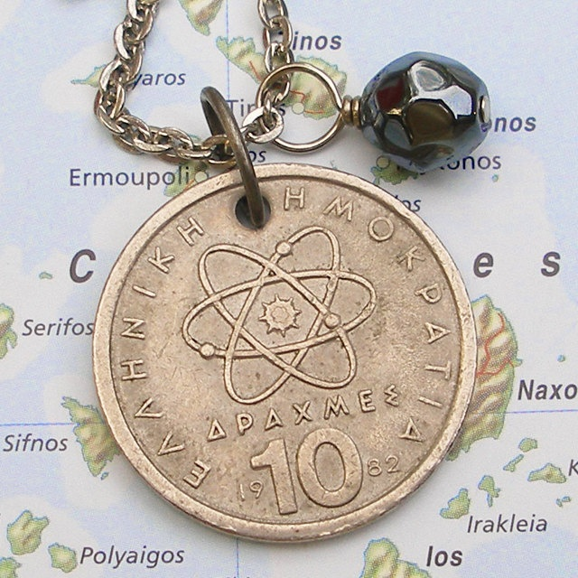 Atomic Theory Greek Vintage Coin Necklace