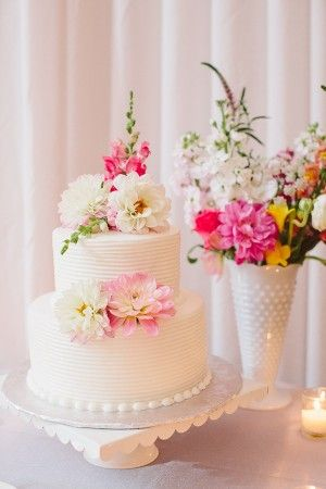Two Tier Round Wedding Cake With Flowers | http://www.rebeccaarthurs.com/