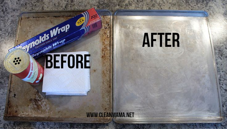 Get rid of the baked on grime and crud on your baking sheets and pans in no time flat. Via Clean Mama