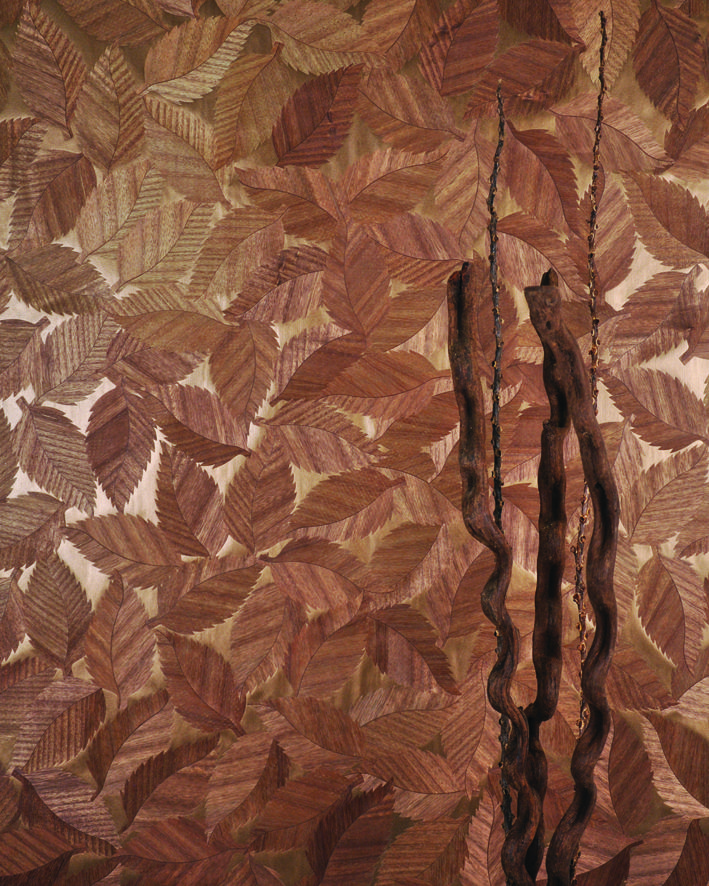 Wood Leaf Natural is an elegant timber wallcovering with an organic leaf pattern from the Natural Wallcoverings collection.