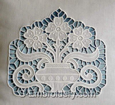 cutwork embroidery | Cutwork lace Flower Vase Machine Embroidery Design