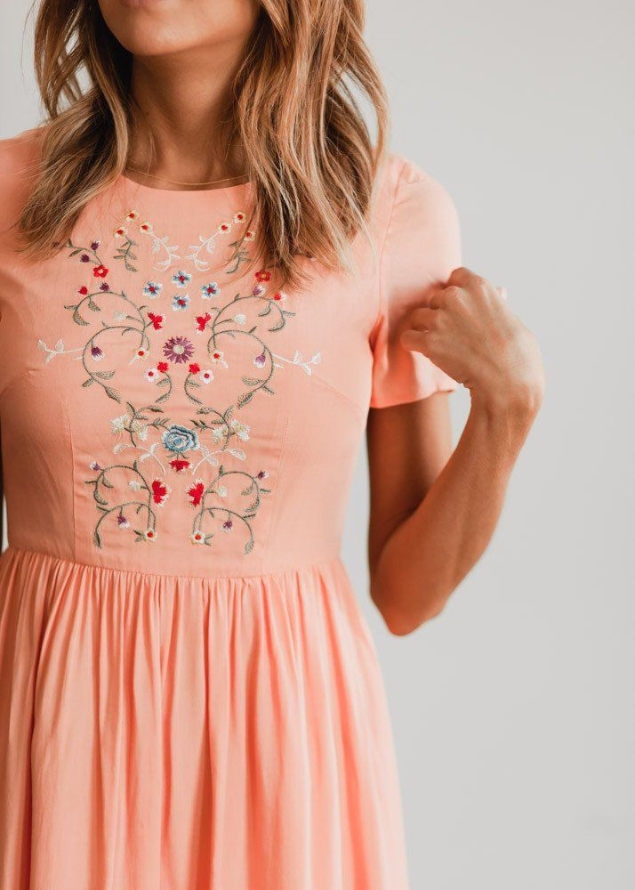 peach floral dress... everything about this, especially if it is knee length