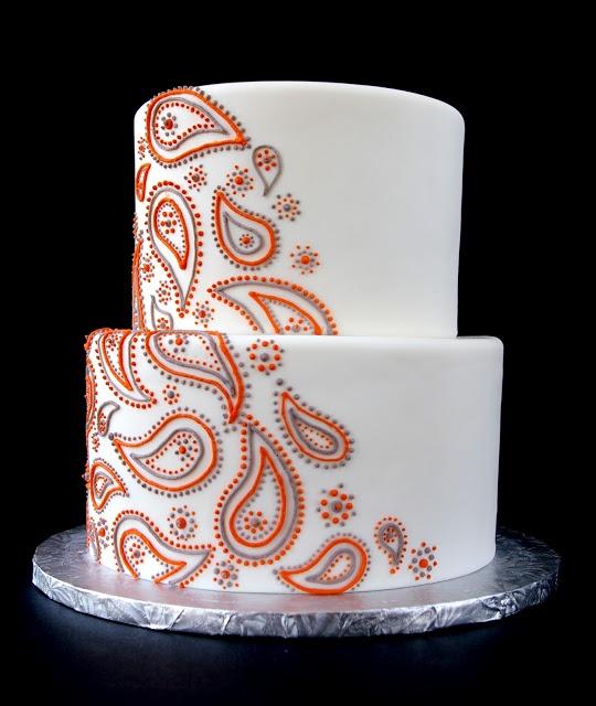 Orange and Gray Paisley Wedding Cake
