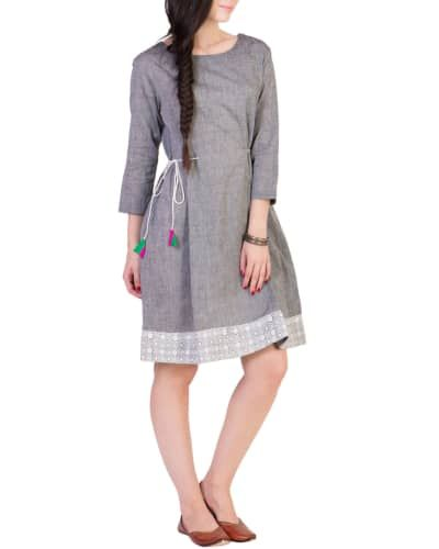 Grey Tunic With Printed Border I Shop at :http://www.thesecretlabel.com/ans-by-astha-n-sidharth