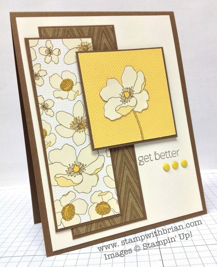 handmade get well card: A Dozen Thoughts by Brian King ... cream, brown and vanilla ... like the sketch layout ... interesting balance ... perfect matting in three overlapping panels ... like it! ... Stampin' Up!