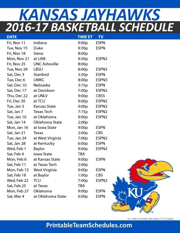 Kansas Jayhawks Basketball Schedule 2016-2017. Print Here - http://printableteamschedules.com/NCAA/kansasjayhawksbasketball.php