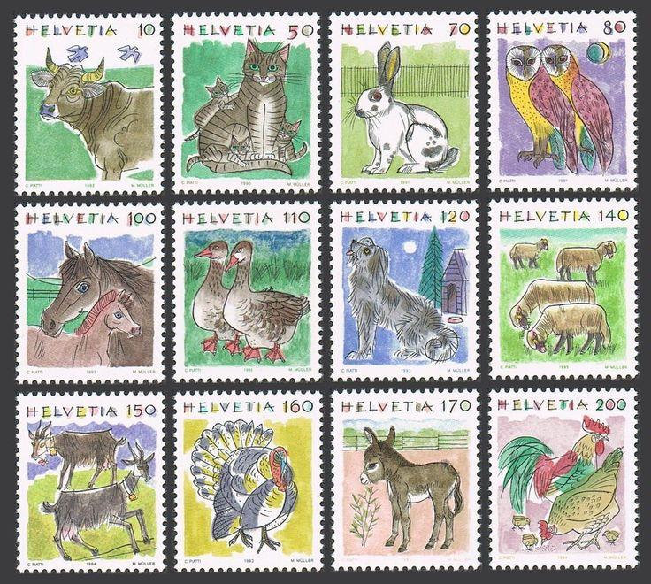 Switzerland 870 881 MNH Animals 1990 1992 Cow House Cats Rabbit Barn Owls | eBay