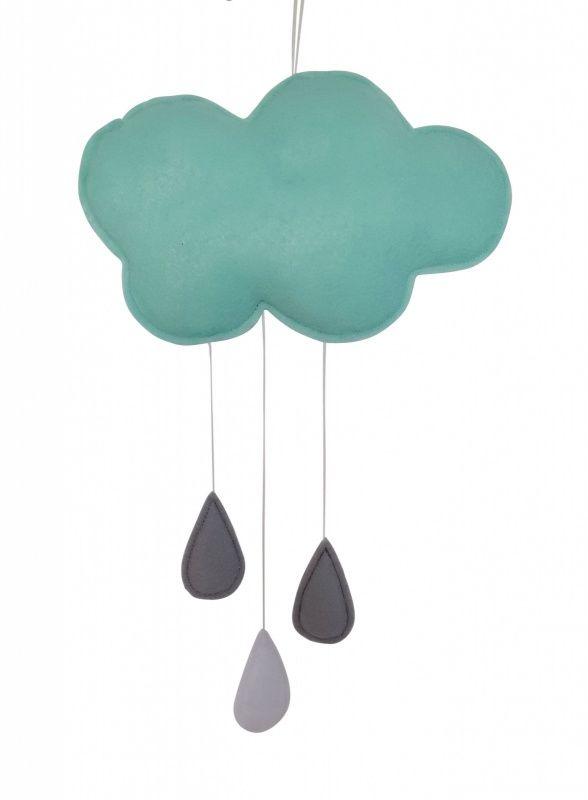 Hanger Wolk mint Deze mooie hanger in de vorm van een wolkje is erg leuk voor in de babykamer. De wolkhanger is handgemaakt van mintgroen wolvilt. De wolk is opgevuld en aan de wolk hangen 3 druppels; 2 grijze en een lichtgrijze. De wolk is 21cm breed en ca. 40cm lang.
