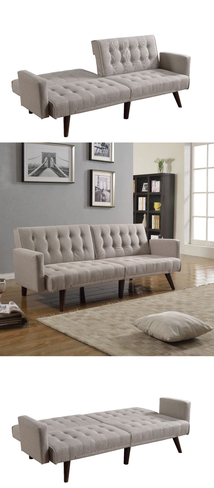 Futons Frames and Covers 131579: Modern Splitback Beige Linen Fabric Sleeper Futon Living Room Sofa -> BUY IT NOW ONLY: $179.99 on eBay!