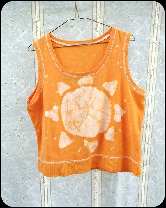Batik Tank Top  Women's  Orange  Sun  Hand Dyed by GraceAtieno, $25.00