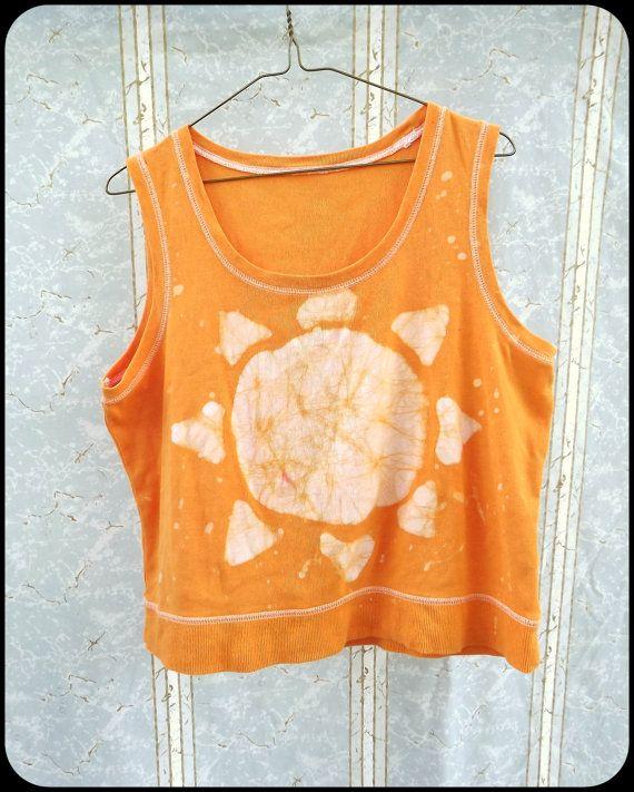 Batik Tank Top  Women's  Orange  Sun  Hand Dyed by GraceAtieno, $25.00
