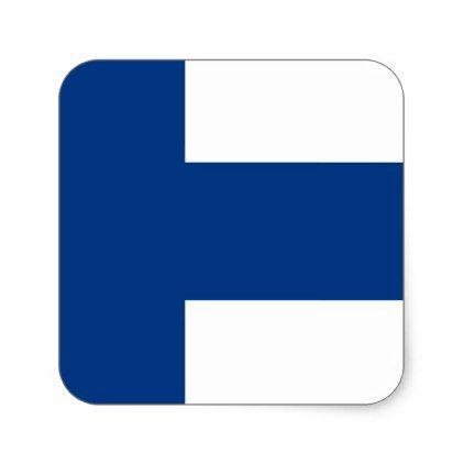Flag of finland suomen lippu finnish flag square sticker craft supplies diy custom