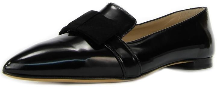 $125, Black Leather Loafers: Cenedella Black Leather Loafer. Sold by shoptiques.com. Click for more info: https://lookastic.com/women/shop_items/306459/redirect