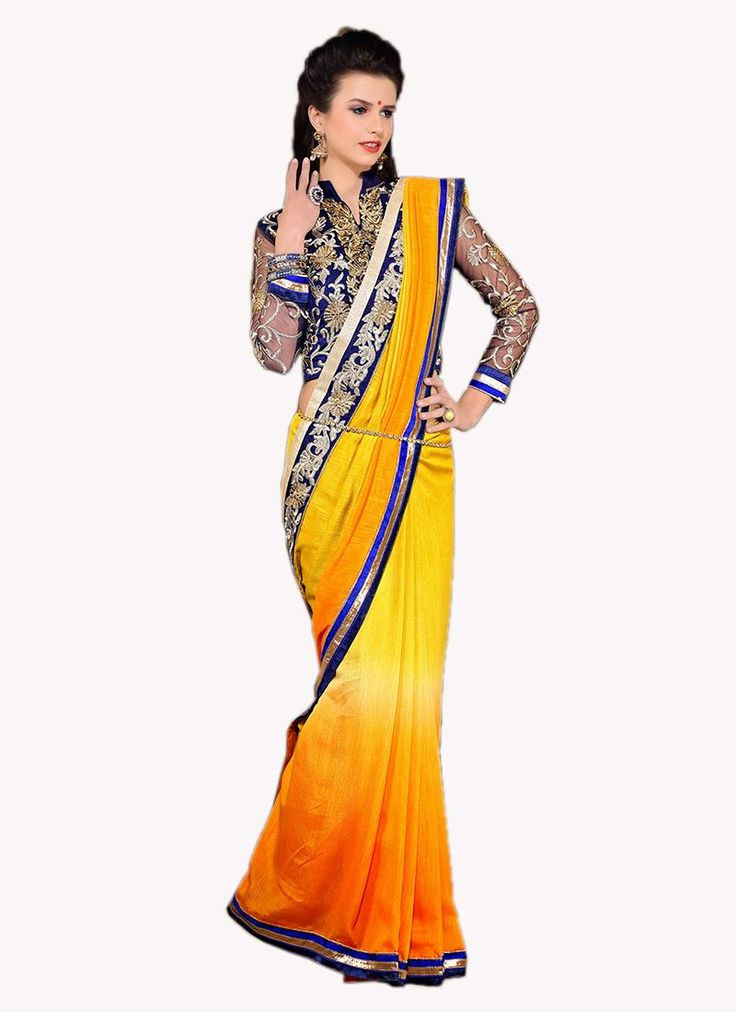 Online saree shopping made easy! Shop this glitzy yellow designer saree for festival and party.