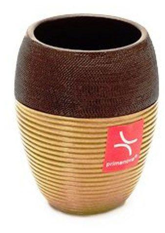 Стакан для зубной пасты Rattan Wire, полимер, золотисто-коричневый, 7.8 х 7.8 х 10.5 см