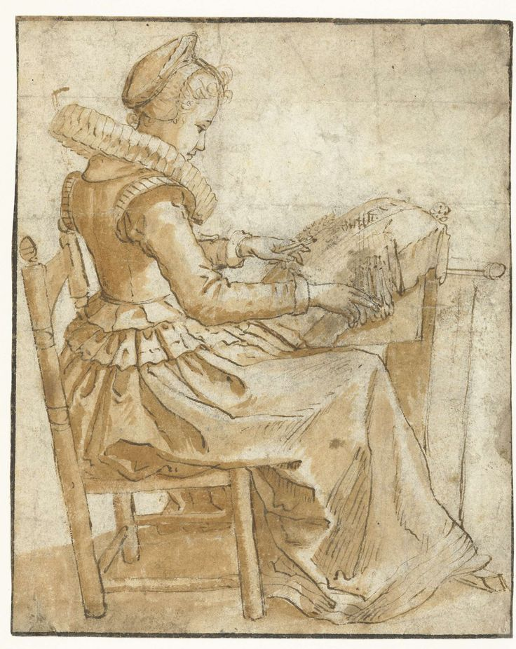 De kantwerkster, anoniem, 1500  (that date is clearly wrong, as the dress is late 16th C)