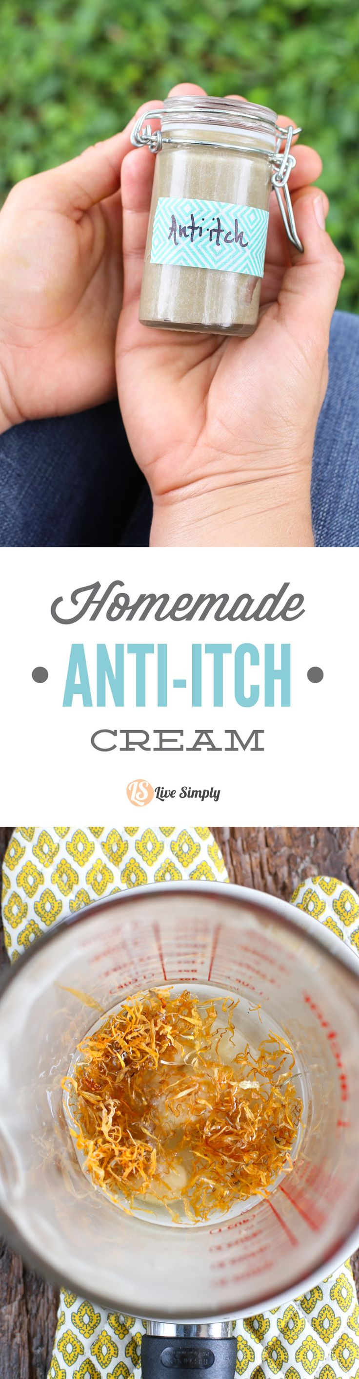 A simple and effective homemade anti-itch cream. This stuff works great on bug bites and plant sensitivities. No yucky ingredients. http://livesimply.me/2015/06/14/homemade-anti-itch-cream/