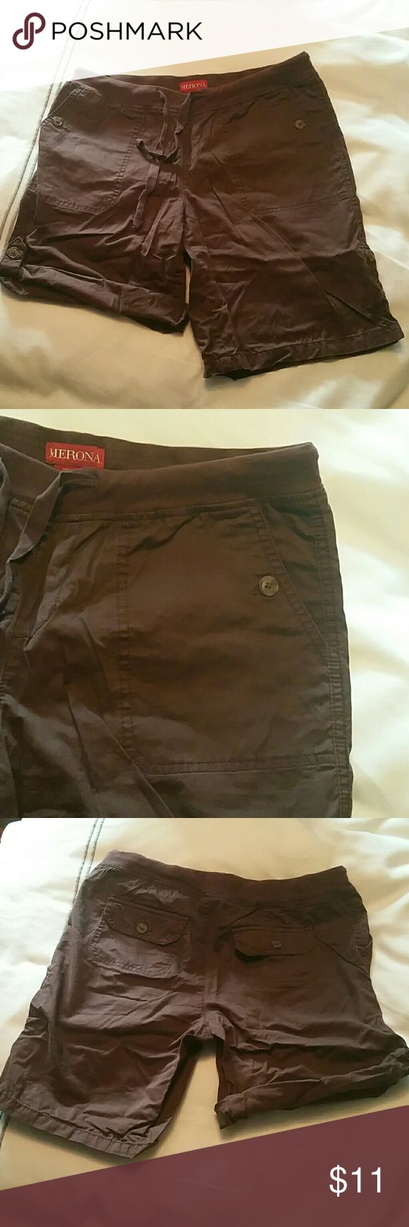 "Brown shorts Like new adjustable length brown shorts.  Stretchy waist.  Can adjust lent from 13"" to 17"".  Waist is 15.5"". Mossimo Supply Co Shorts Cargos"