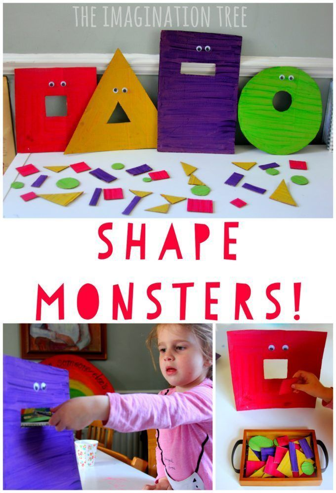 Feed the hungry shape monsters game // juego para alimentar a los monstruos de formas #shapes #math #diy