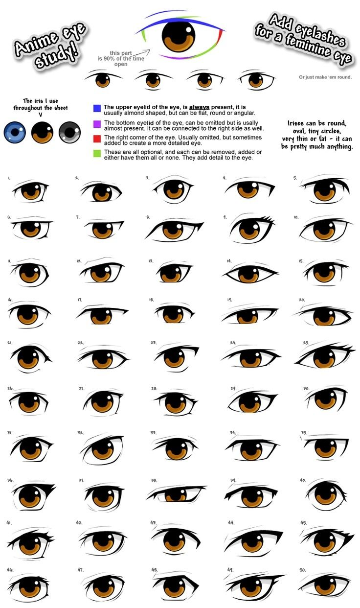 AnatoRef — Manga Eyes Top Image Row 2: Left, Right Row 3:...