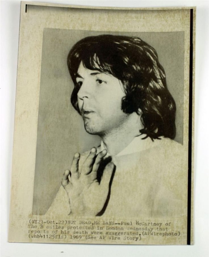 "Paul McCartney The Beatles ORIGINAL ""Paul is dead"" wire photo. Does NO ONE see how different he was at the end of 1966 to the beginning of 1967!? There are major differences. It's way too sketchy to be false. A lot of people are dead because of this. I honestly think it would've been better to just ""let it be"" and tell the fans. This man stole a life that wasn't supposed to end."