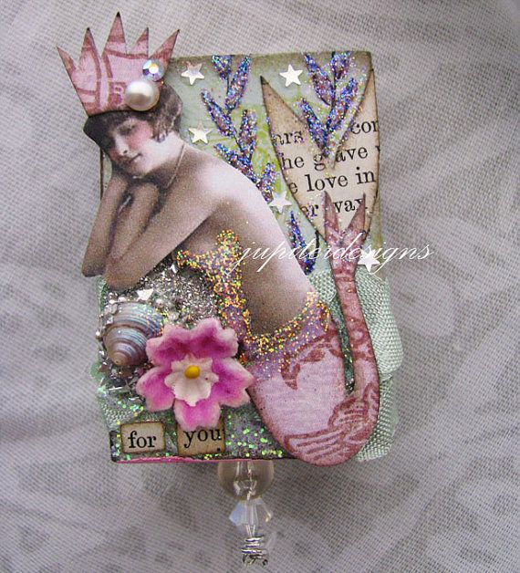 mermaid collage matchbook altered art tiny by jupiterdesigns