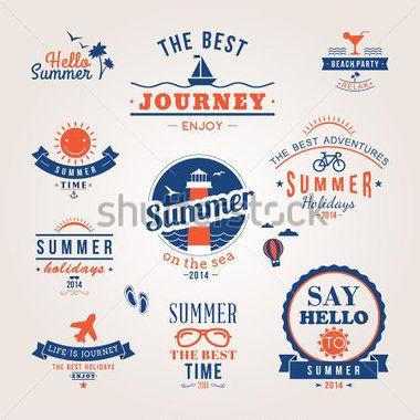 夏のレトロなデザイン要素です。夏休みベクトルのセット。ビンテージ装飾とラベル、熱帯の楽園、海辺での休暇、冒険や旅行が。
