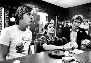 Young actors Mark Hamill, Carrie Fisher and Harrison Ford take a break from filming Star Wars in 1977