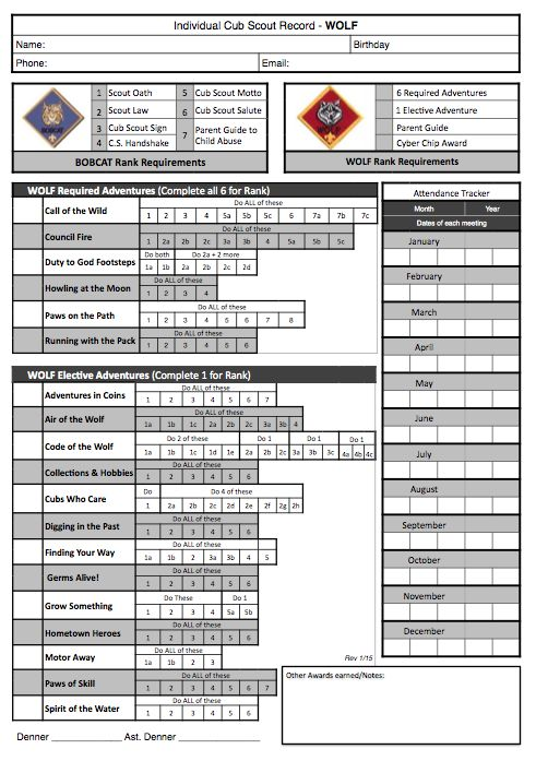 Akela's Council Cub Scout Leader Training: Cub Scout Wolf PRINTABLE Tracking and Organization Work Sheet for the New Program - Free - with Adventures and Cyber Chip and Award requirements to help Leaders and Parents