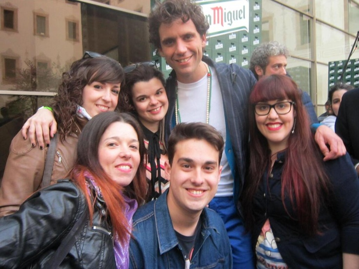 Mika with a group of fans @ the Live Your Life San Miguel advert filming thing 2013