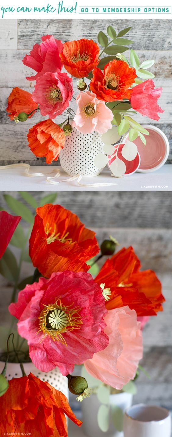 Handmade Painterly Crepe Paper Poppies & Poppy Pods - www.LiaGriffith.com - #crepepaperpoppies #crepepaperflowers #crepepaperrevival #paperflowers #paperflower #paperflowertutorial