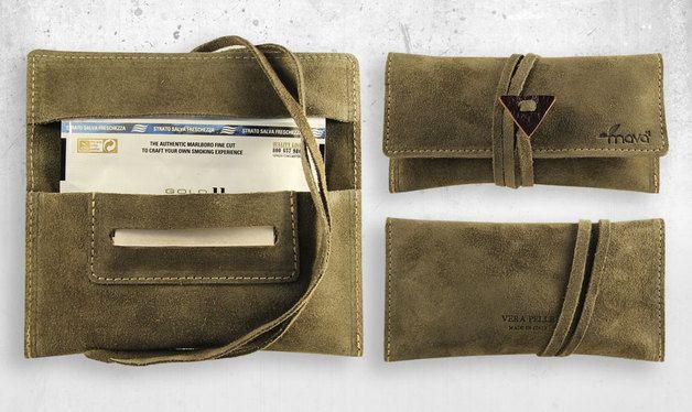Tabakbeutel - Tabakbeutel Green Chamois - ein Designerstück von Portatabacco bei DaWanda