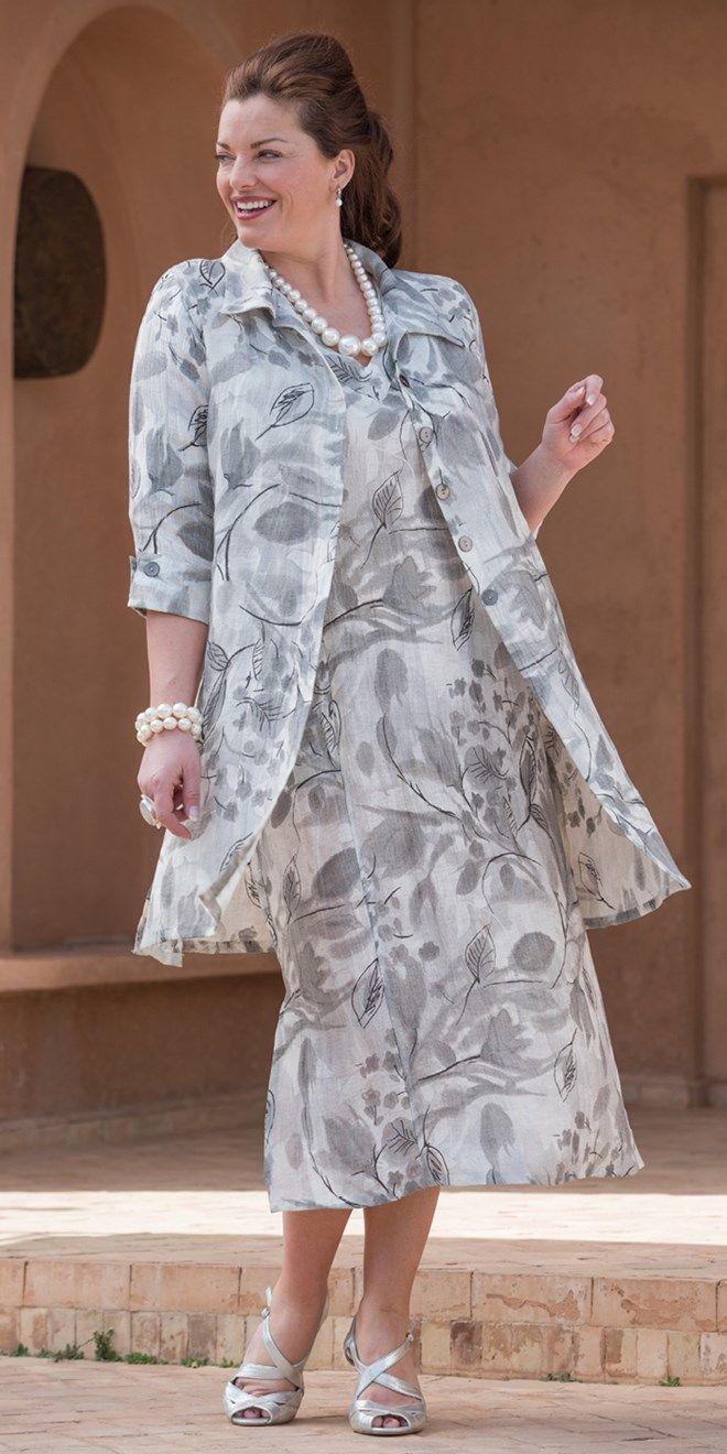 Kasbah silver linen printed collar jacket and dress