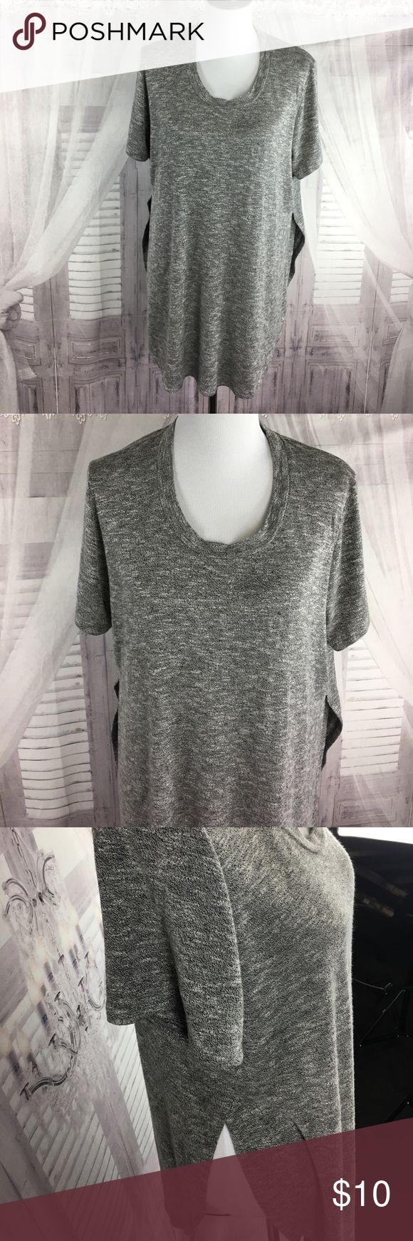 Gray Long short sleeve top Women's top -short sleeve and long enough to cover your bottom.  Has 2 slits on side and a great shirt for leggings, or anything were you want the backside covered! The open sides give it a fun edge. Size Large Mossimo Supply Co Tops