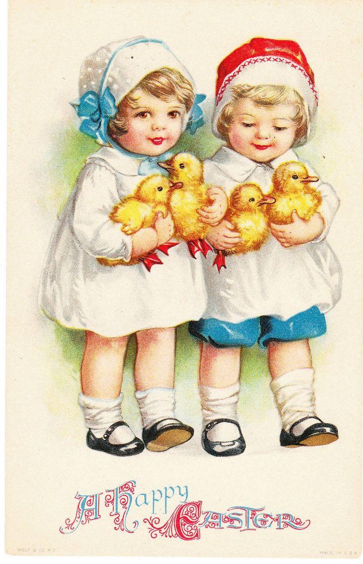A heartwarmingly sweet vintage Easter card.