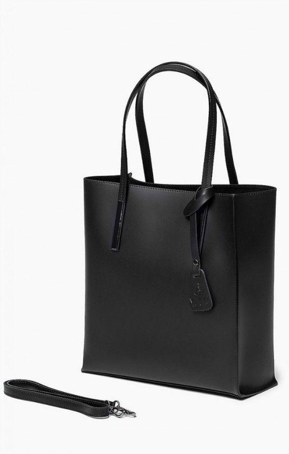 Vera Pelle Włoska Torebka Skóra Shopper Czarna Oryginalna torba damska włoskiej produkcji (Vera Pelle) wykonana ze skóry naturalnej najwyższej jakości. Skóra gładka, gruba i sztywna, miła w dotyku. Torba nie odkształca się i nie zagina, dzięki czemu przez